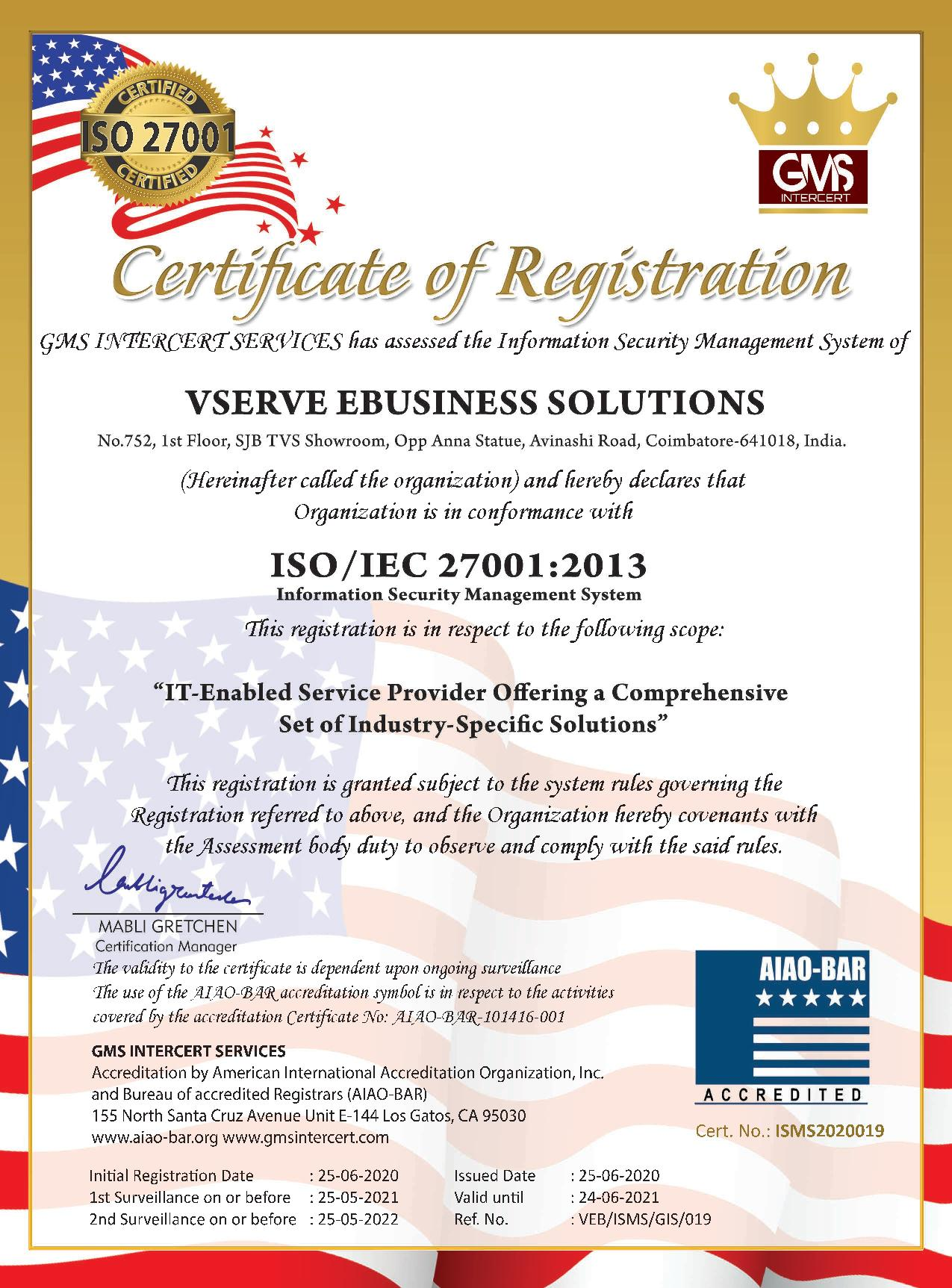 Vserve is a ISO/IEC 27001:2013